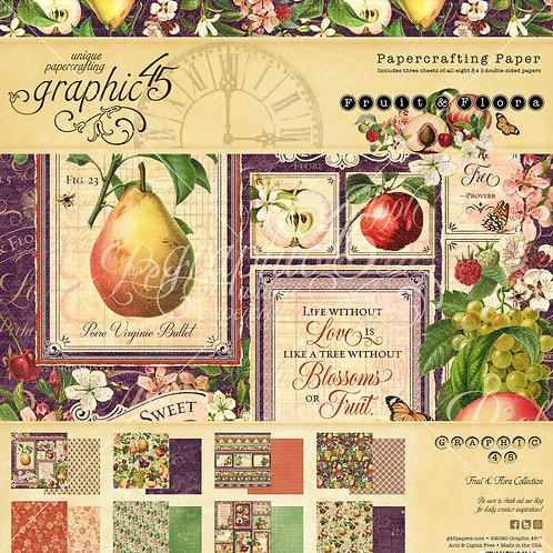Graphic 45-Fruit & Flora-8x8 Paper Pad