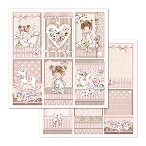 Stamperia-Little Girl - Cards - 2 - 12x12 Single Sheets
