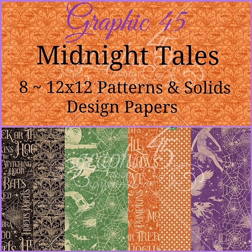 Graphic 45-Midnight Tales-Patterns & Solids-8 - 12x12 Shts  (No cover)