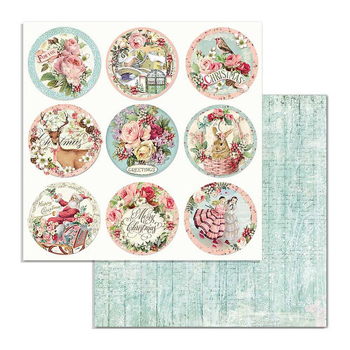 Stamperia-Pink Christmas Rounds - 2 - 12x12 Single Sheets-Item #SBB701