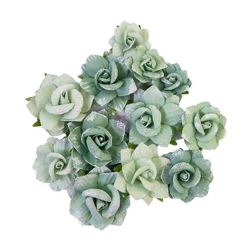 Prima - My Sweet - Emerald Beauty - Mulberry Paper Flowers - 12 Pieces