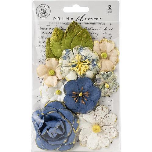 Prima - Georgia Blues - Monroe - Mulberry Paper Flowers - 12 Pieces