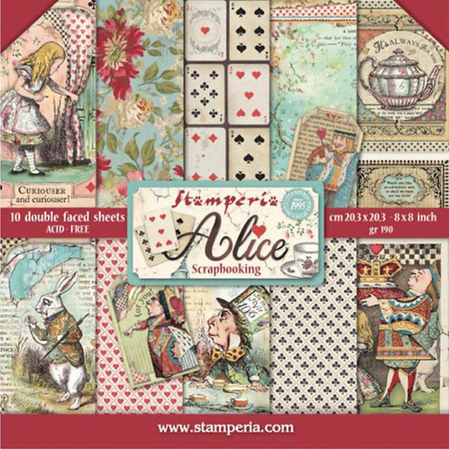 Alice 8x8 Paper Pack by Stamperia - 10 Double Sided Design Papers