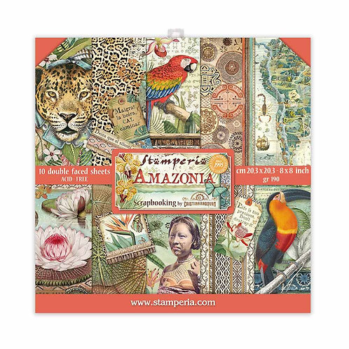 Stamperia - Amazonia - 8x8 Paper Pad - 10 Sheets - 22 Designs