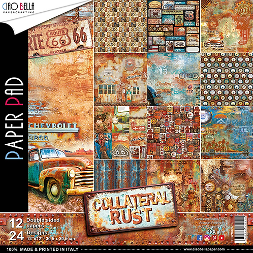 Collateral Rust by Ciao Bella-12-12 x 12 Double-Sided Design Papers-CBPM026
