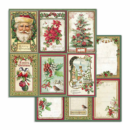 Stamperia-Merry Christmas Cards - 2 - 12x12 Single Sheets-Item #SBB703