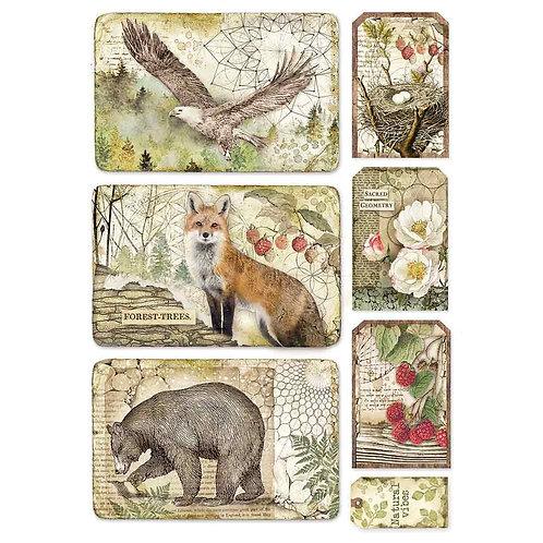 Stamperia - Forest Framed Eagle, Fox, Bear - Rice Paper A4-Item #DFSA4427
