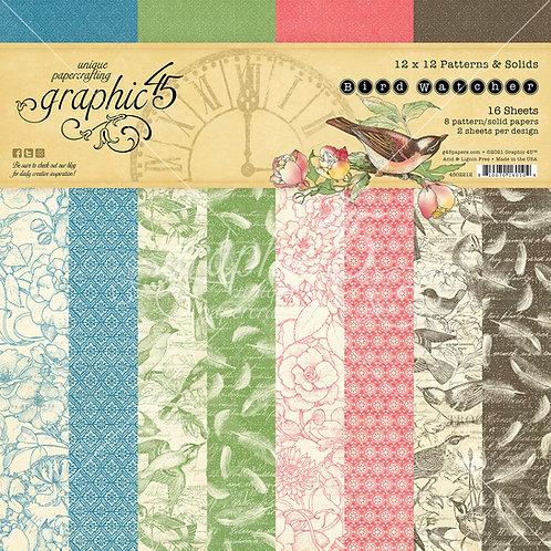 PREORDER Graphic 45-Bird Watcher-Patterns & Solids-12x12 Paper Pad
