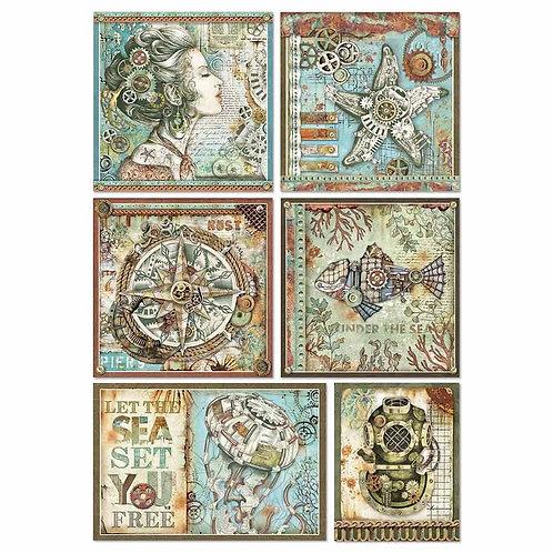 Stamperia - Sea World Frames - Rice Paper A4-Item #DFSA4434