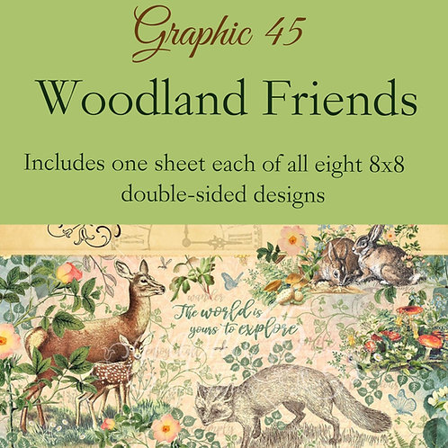 Graphic 45-Woodland Friends- 8 - 8x8 - Double-Sided Single Sheets (no cover)