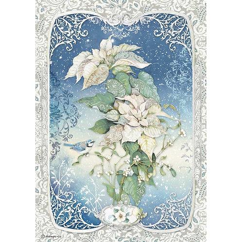 Stamperia -Winter Tales Poinsettia - Rice Paper A4-Item #DFSA4493