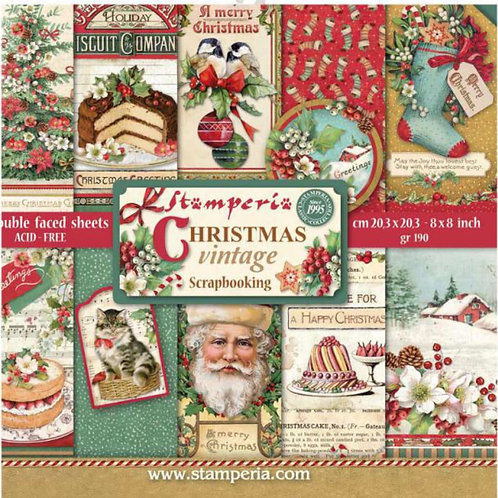 Christmas Vintage 8x8 Paper Pack by Stamperia-10 Double Sided Design Papers