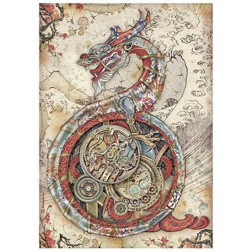 PRE ORDER Stamperia - Sir Vagabond in Japan - Mechanical Dragon - Rice Paper A4