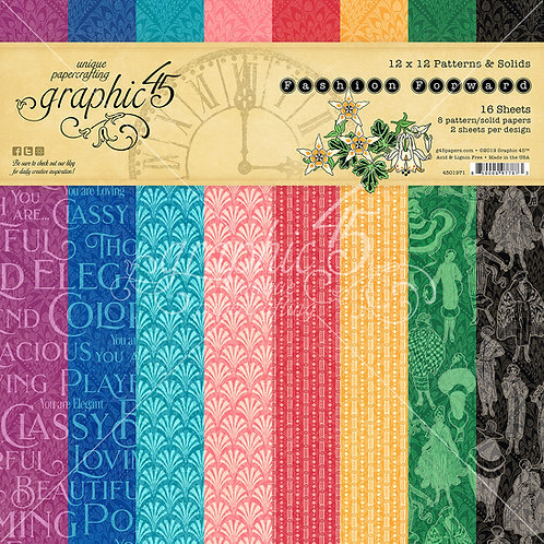 Graphic 45-Fashion Forward-Patterns & Solids-12x12 Paper Pad