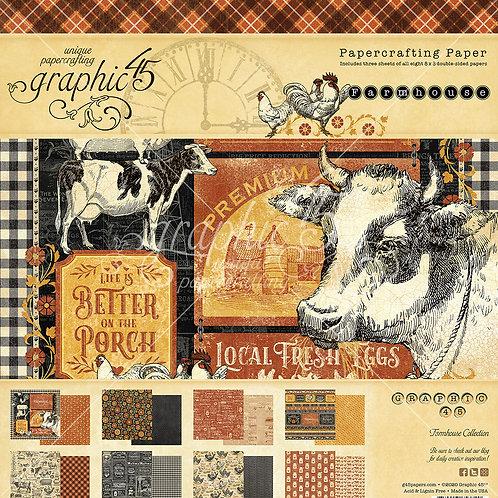 Graphic 45-Farmhouse-8x8 Paper Pad