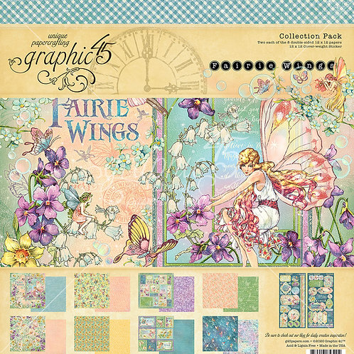 Graphic 45-Fairie Wings-12x12 Collection Pack w/Stickers