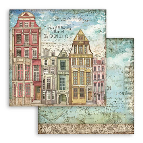 Stamperia-Lady Vagabond - London Houses - 2 - 12x12 Single Sheets