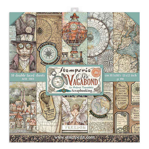 Stamperia - Sir Vagabond - 12X12 Paper Pad - 10 Sheets - 22 Designs
