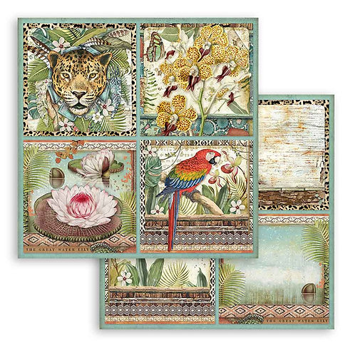 Stamperia - Amazonia - 4 Square Frames - 2 - 12x12 Single Sheets