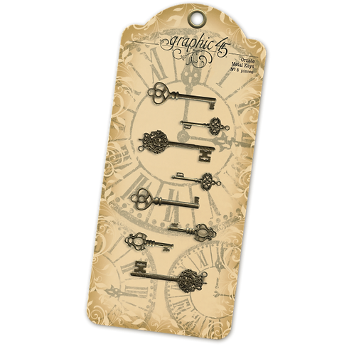 Graphic 45-Ornate Metal Keys-8 Pieces