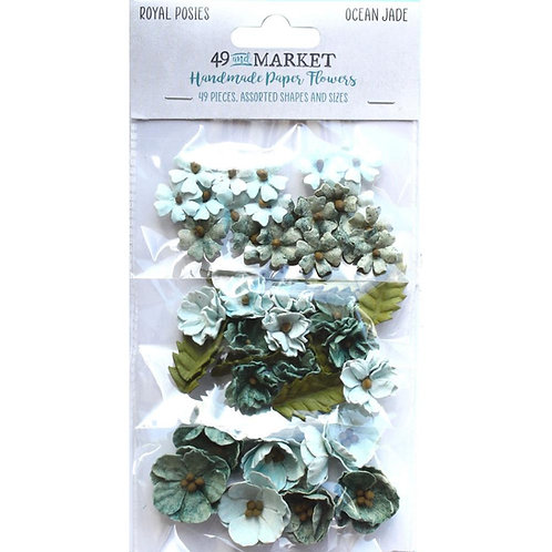49 and Market - Royal Posies - Ocean Jade - 49 Pieces