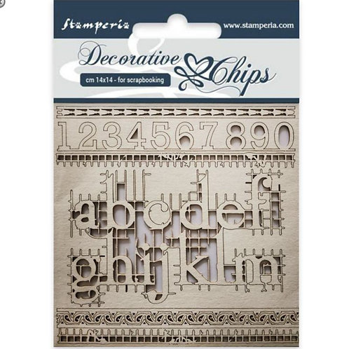 Stamperia-Decorative Chips-Alphabets & Numbers