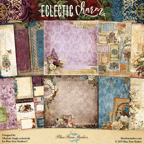 Blue Fern-Eclectic Charm 10-12x12 Double-Sided Sheets (no cover)