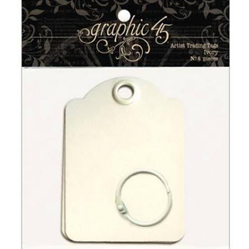 Graphic 45 Staples Ivory Artist Trading Tags-12 Tags