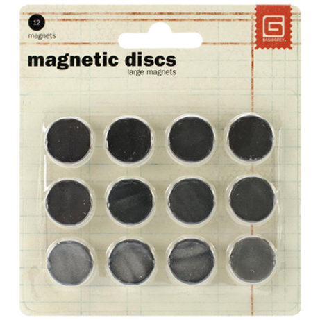 "Basic Grey-Magnetic Discs-12 Pkg - .625"" x 1/8"" thick"