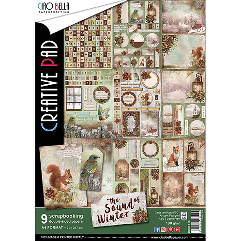 Sound of Winter by Ciao Bella-9 Double-Side Papers in the A4 Format-CBCL016