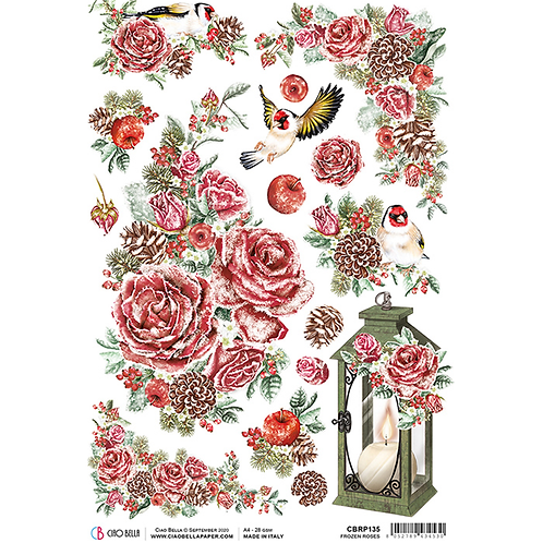 Frozen Roses - A4 Rice Paper by Ciao Bella-Item #CBRP135