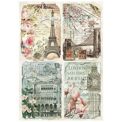 Vintage Postcards Rice Paper by Stamperia