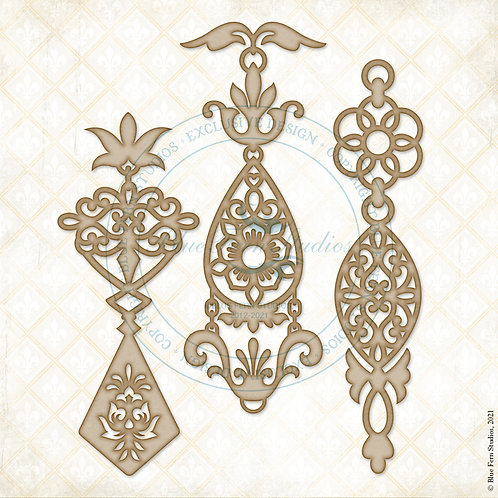 Blue Fern - Compositions - Chipboard - Jeweled Pendents -  Pieces