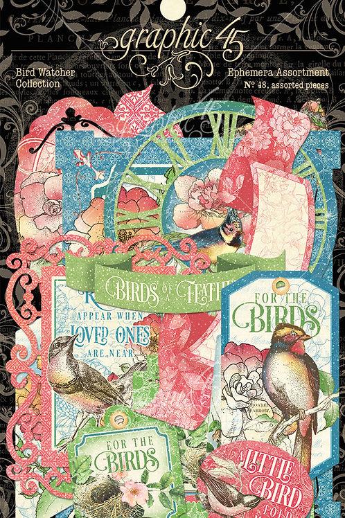 Graphic 45-Bird Watcher- Ephemera Die Cut Assortment-48 Pieces