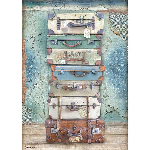Stamperia - Atelier Des Arts - Luggage - Rice Paper A4