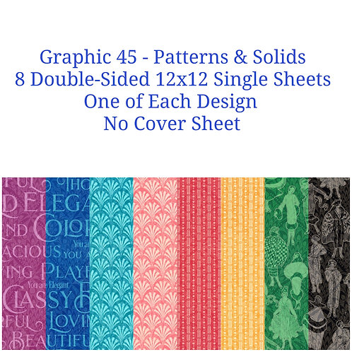 Graphic 45-Fashion Forward-Patterns & Solids-8-12x12 Double Sided Sheets
