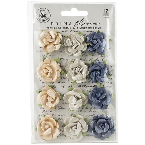 Prima - Georgia Blues - Berrien - Mulberry Paper Flowers - 12 Pieces