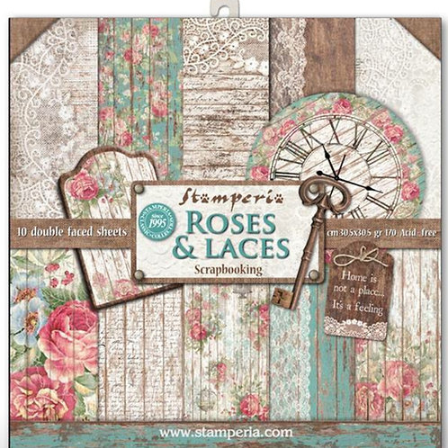 Roses & Lace by Stamperia-12x12 Paper Pack