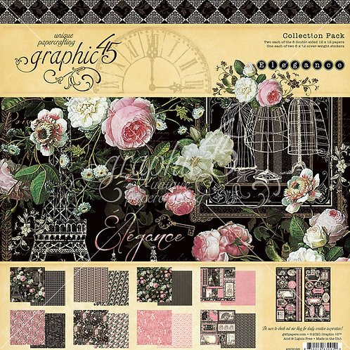 Graphic 45-Elegance-12x12 Collection Pack w/Stickers