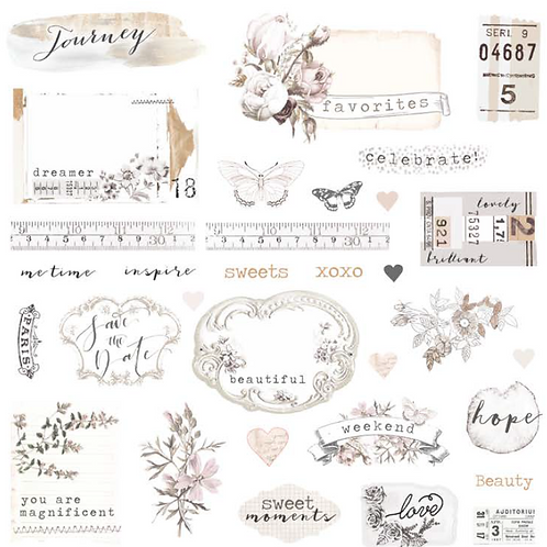 Prima - Pretty Pale Ephemera Paper Shapes and Sticker Sheet