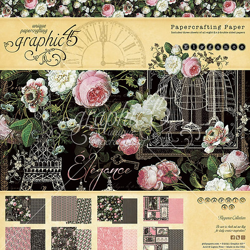 PREORDER Graphic 45-Elegance-8x8 Paper Pad