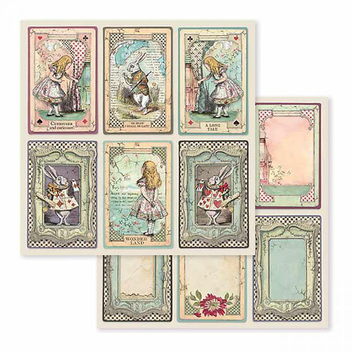Stamperia-Alice cards - 2 - 12x12 Single Sheets