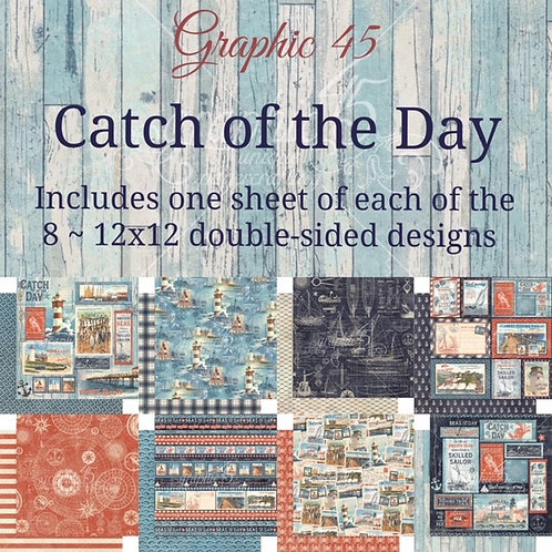 Graphic 45-Catch of the Day-8 Single 12x12 Double-Sided Sheets (No Cover)