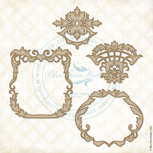 Blue Fern - Compositions - Chipboard - Charming Frames - 4 Pieces