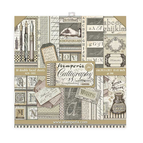 Stamperia - Calligraphy 8x8 Paper Pack - 10 Sheets - 22 Designs
