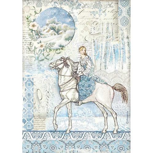 Stamperia -Winter Tales Horse - Rice Paper A4-Item #DFSA4492