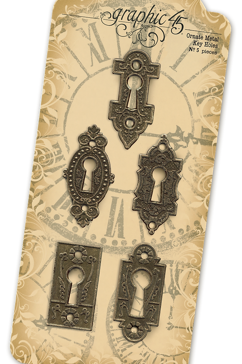 Graphic 45-Ornate Metal Key Holes-5 Pieces