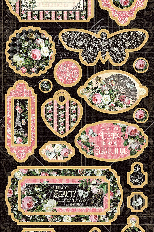 PREORDER Graphic 45-Elegance-Decorative Chipboard