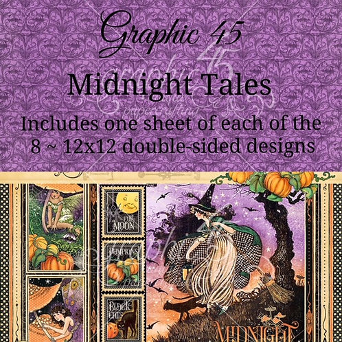 Graphic 45 - Midnight Tales - 8 - 12x12 Double-Sided Sheets (No Cover)