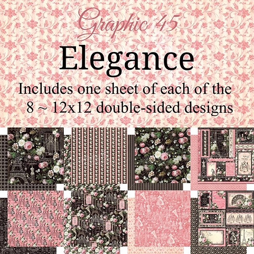 Graphic 45 - Elegance - 8 - 12x12 Double-Sided Sheets (No Cover)